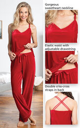 Close-ups of the features of Velour Cami Pajamas which include a gorgeous sweetheart neckline, elastic waist with adjustable drawstring and double criss-cross straps in back image number 4