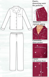 A technical drawing of Red with Gray Hearts Flannel Boyfriend PJs with the following details highlighted: Elastic, drawstring waist, attractive gold piping, convenient chest pocket and classic full button-front image number 2