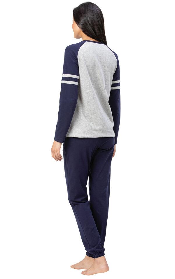 Model wearing Sunday Funday Pajamas - Navy, facing away from the camera image number 1