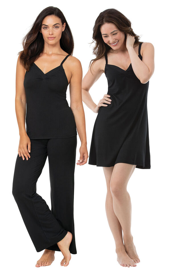 Black Naturally Nude Cami PJs and Chemise Gift Set image number 0