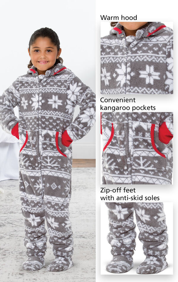 Close-ups of Nordic Hoodie-Footie's features which include a warm hood, convenient kangaroo pockets and zip-off feet with anti-skid soles. image number 2