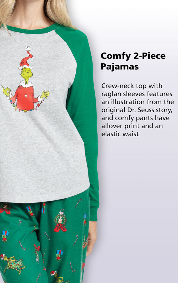 Crew-neck top with raglan sleeves features an illustration from the original Dr. Seuss story, and comfy pants have allover print and an elastic waist image number 3