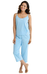 Model wearing Blue Pin Dot Cami PJ for Women image number 0
