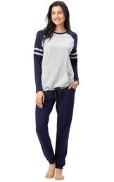 Model wearing Sunday Funday Pajamas - Navy image number 1