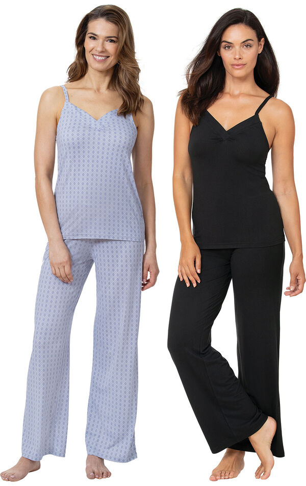 Blue and Black Naturally Nude Cami PJs Gift Set image number 0