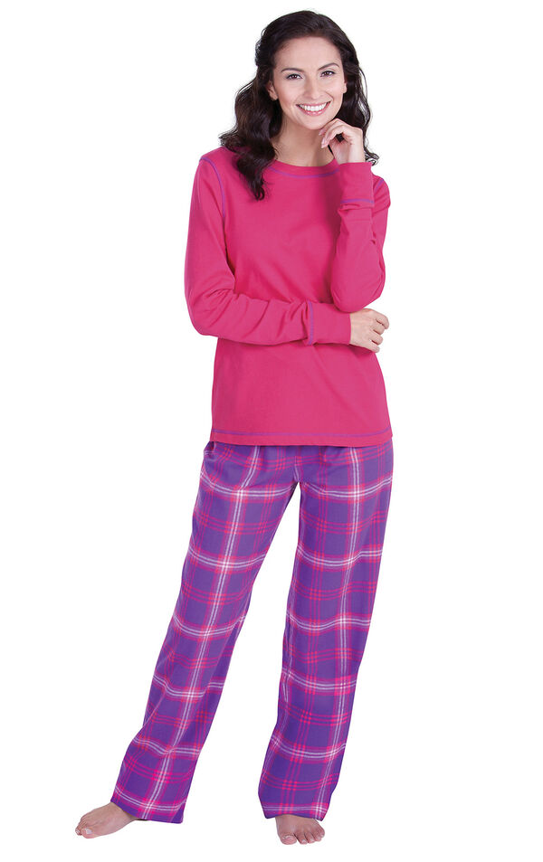 Model wearing Pink and Purple Bright Plaid PJ for Women image number 0