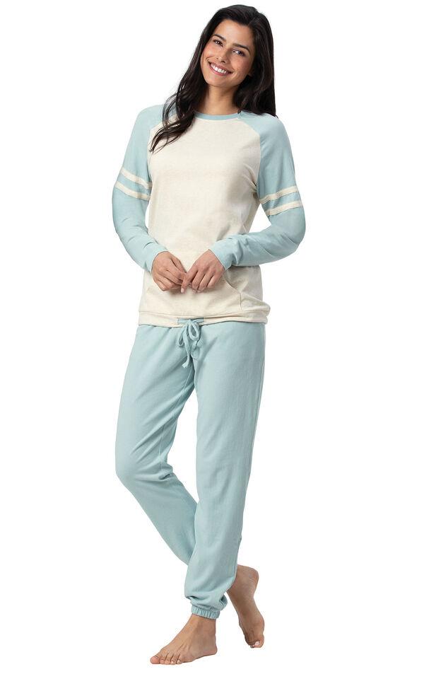Model wearing Sunday Funday Pajamas - Aqua image number 0