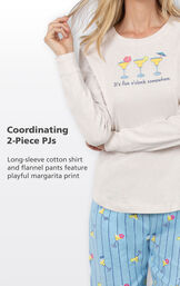 Coordinating 2-Piece PJs - long-sleeve cotton shirt and flannel pants feature playful margarita print image number 3