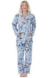 Model wearing Light Blue Dog Tired Print Button-Front PJ for Women image number 0