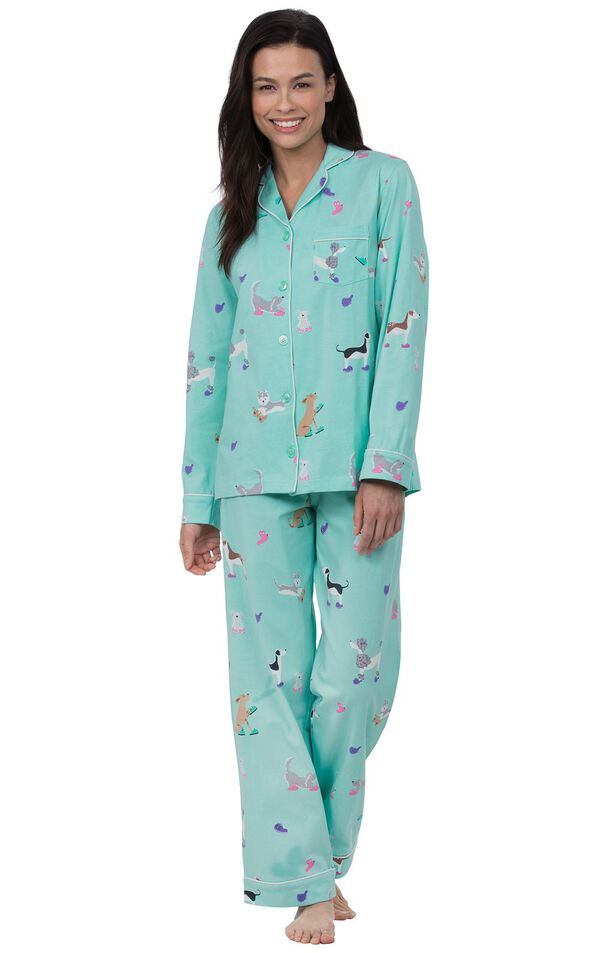 Model wearing Light Blue Dog Print Button-Front PJ for Women image number 0