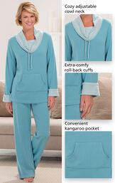Close-Ups of  Teal World's Softest PJs features which include a cozy adjustable cowl neck, extra-comfy, roll-back cuffs and a convenient kangaroo pocket. image number 2