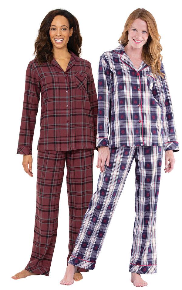 Burgundy and Snowfall Plaid Boyfriend PJs Gift Set image number 0