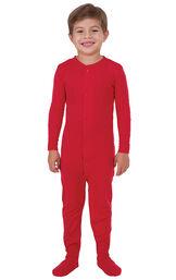 Model wearing Red Dropseat Onesie PJ for Kids image number 0