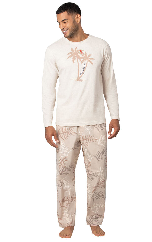 Model wearing Tan Margaritaville PJ with Graphic Tee for Men image number 1