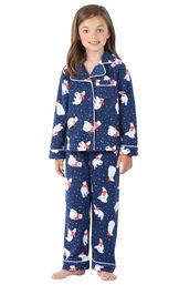 Model wearing Navy Polar Bear Fleece Button-Front PJ for Girls image number 0