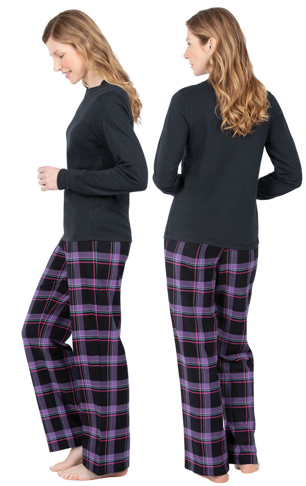 Model wearing Black and Purple Plaid PJ for Women, facing away from the camera and then to the side image number 1