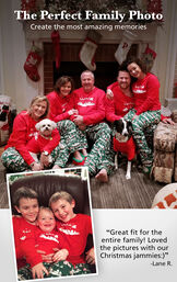 """Customer photos of The Night Before Christmas matching family pajamas. Headline: The Perfect Family Photo. Create the most amazing memories. Customer quote: """"Great fit for the entire family! Loved the pictures with our Christmas jammies"""" - Lane R. image number 3"""