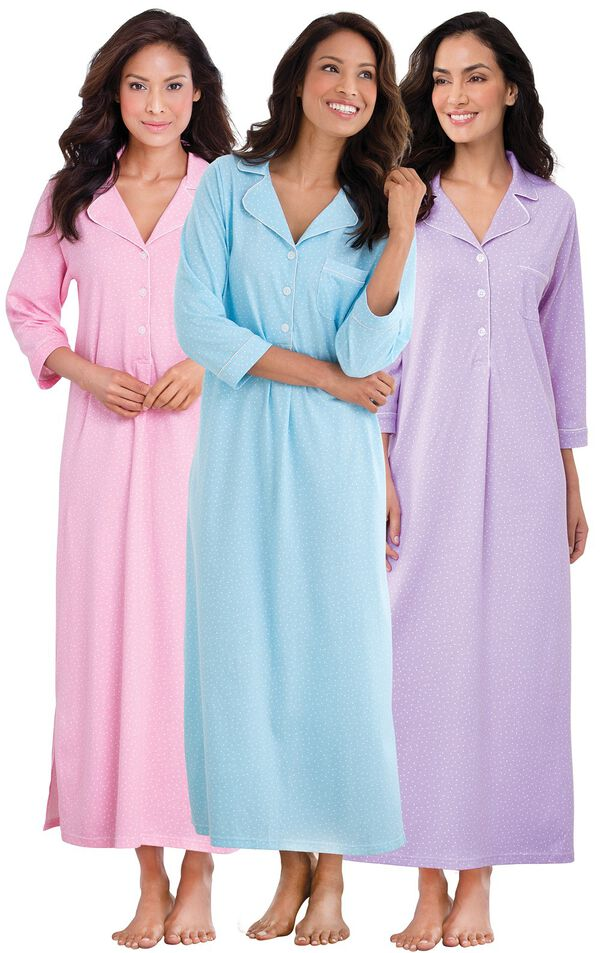Models wearing Classic Polka-Dot Nighty - Pink, Classic Polka-Dot Nighty - Lavender and Classic Polka-Dot Nighty - Blue. image number 0