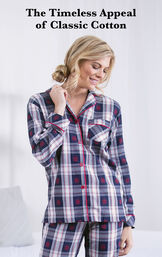 Model wearing Snowfall Plaid Boyfriend Pajamas with the following copy: The Timeless Appeal of Classic Cotton image number 2