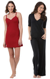 Red Naturally Nude Chemise and Black Naturally Nude PJs image number 0