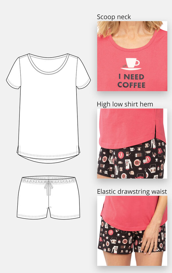 Close-ups of the features of Coffee Lover Short Set which include a scoop neck, high low shirt hem and elastic drawstring waist image number 3