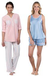 Models wearing Soft Stripe Henley Pajamas and Dreamy Satin Short Set. image number 0