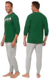Model wearing Green and Gray Holiday Argyle Men's Pajamas facing away from the camera and then facing to the side image number 1
