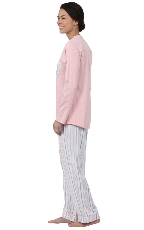 Model wearing Soft Stripe Henley Pajamas, facing to the side image number 1