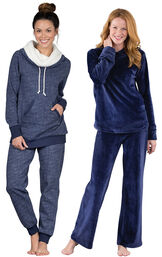 Models wearing Solstice Shearling Rollneck Pajamas and Tempting Touch PJs - Midnight Blue.