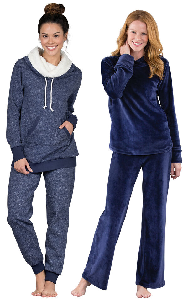 Models wearing Solstice Shearling Rollneck Pajamas and Tempting Touch PJs - Midnight Blue. image number 0