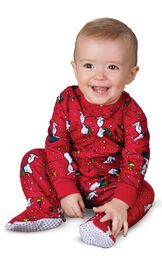 Model wearing Red Snoopy and Woodstock PJ for Infants