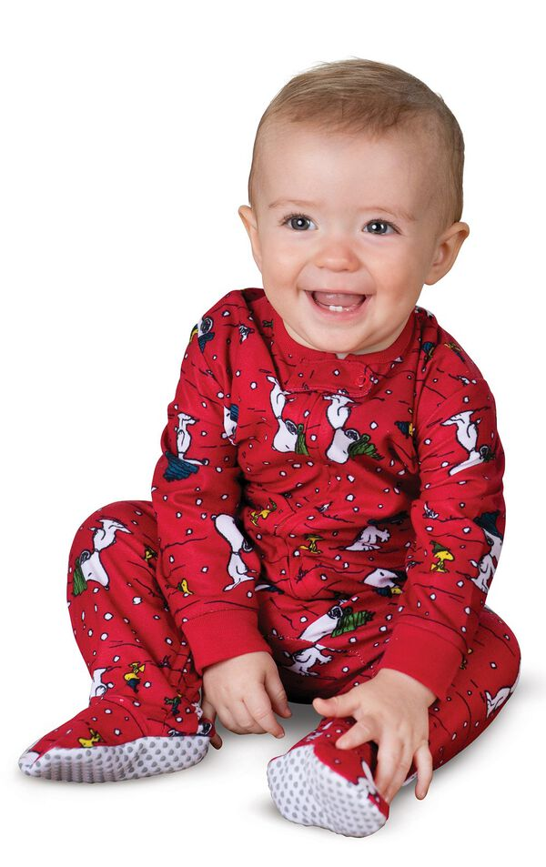 Model wearing Red Snoopy and Woodstock PJ for Infants image number 0