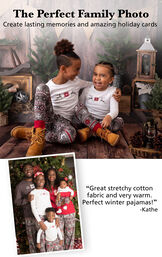 "PajamaGram Customers wearing Nordic Pajamas. Headline: The Perfect Family Photo, Create lasting memories and amazing holiday cards. Customer quote: ""Great stretchy cotton fabric and very warm. Perfect winter pajamas!"" image number 3"
