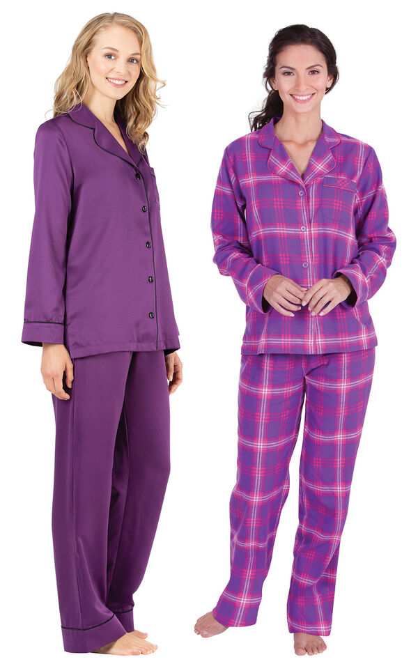 Models wearing Satin Pajamas with Piping - Purple and Raspberry Plaid Boyfriend Flannel Pajamas. image number 0
