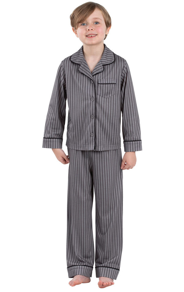 Model wearing Charcoal Gray and Black Stripe Button-Front PJ for Youth image number 0