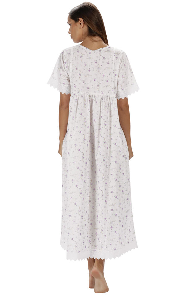 Model wearing Helena Nightgown in Lilac Rose for Women, facing away from the camera image number 1