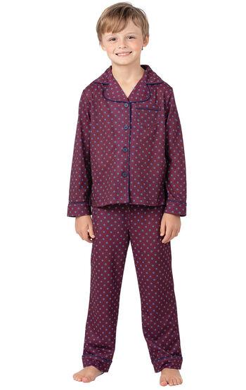 Classic Foulard Boys Pajamas - Burgundy
