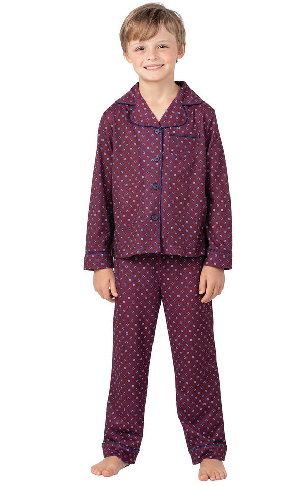 Model wearing Deep Red Print Button-Front PJ for Kids image number 0