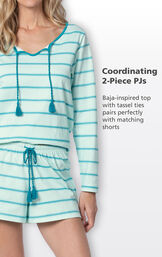 Close-up of Margaritaville Rest and Relaxation Short Set Coordinating 2-Piece PJs - Baja-inspired top with tassel ties pairs perfectly with matching shorts image number 3