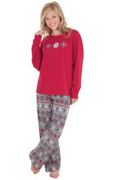 Model wearing Red and Gray Fair Isle PJ for Women