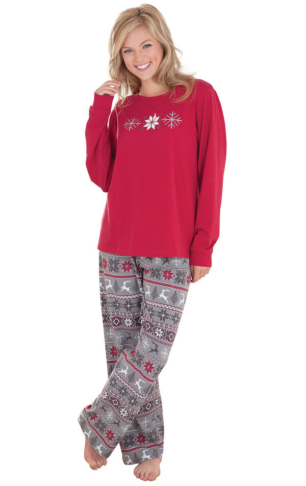 Model wearing Red and Gray Fair Isle PJ for Women image number 0