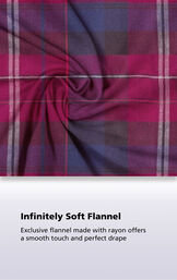 Black cherry plaid flannel fabric swatch with the following copy: Exclusive flannel made with rayon offers a smooth touch and perfect drape image number 4