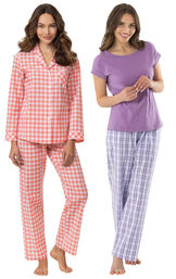 Models wearing Heart2Heart Gingham Boyfriend Pajamas - Coral and Perfectly Plaid Pajamas image number 0