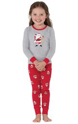 Model wearing Red and Gray Santa Print PJ for Toddlers