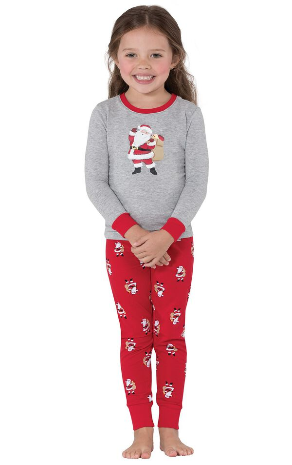 Model wearing Red and Gray Santa Print PJ for Toddlers image number 0