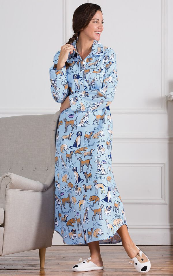 Model leaning on couch wearing Light Blue Dog Tired Print Gown for Women and Puppy slippers image number 3