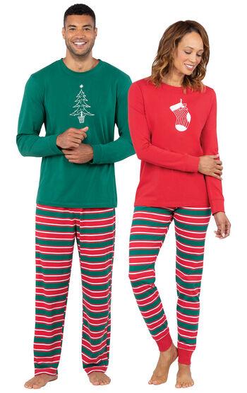 Christmas Stripe His & Hers Matching Pajamas