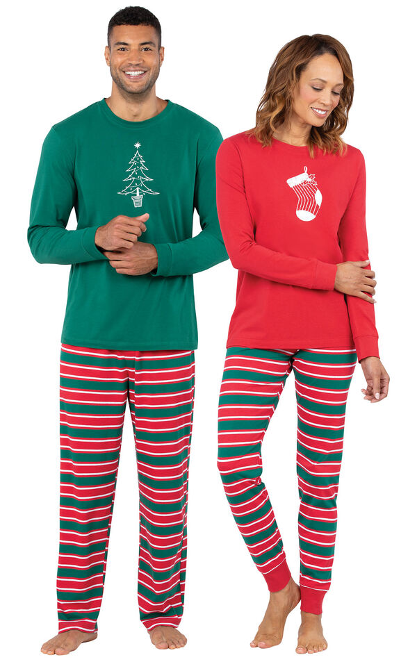 Christmas Stripe His & Hers Matching Pajamas image number 0