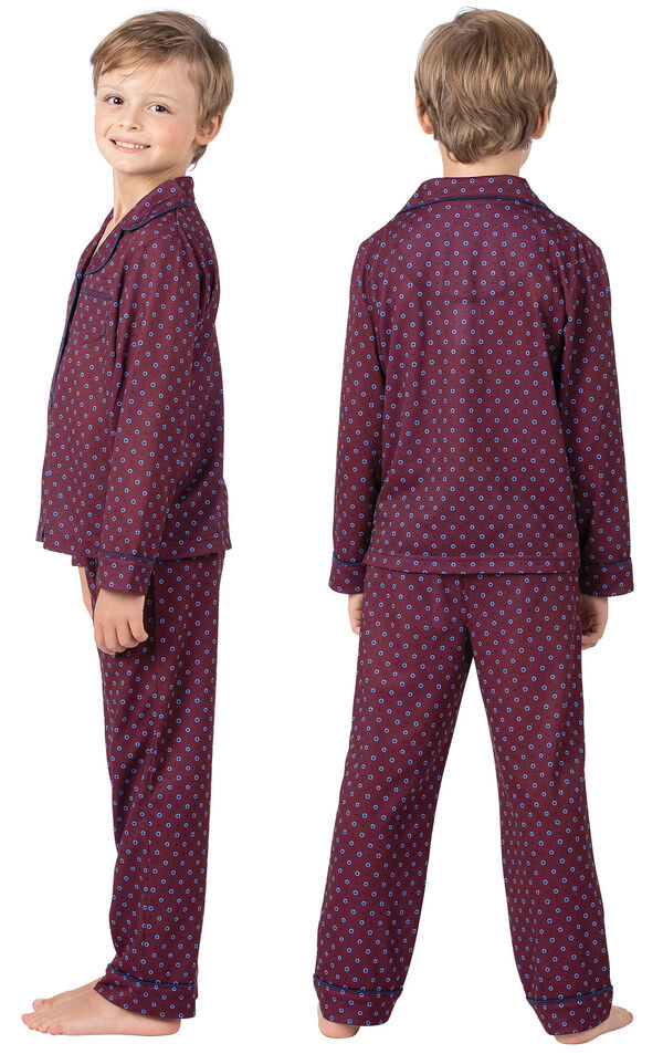 Boy wearing Deep Red Print Button-Front PJ for Kids, facing away from the camera and facing to the side image number 1