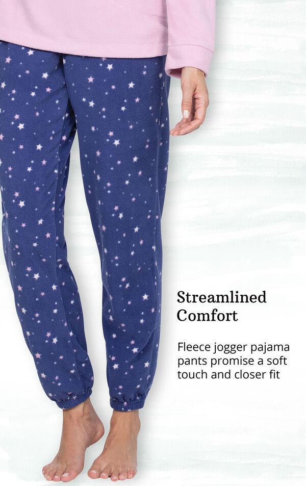 Blue Stars - Pink Top Fleece Jogger PJ for Women image number 3